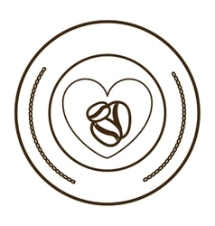 monochrome round contour with heart with coffee vector image vector image