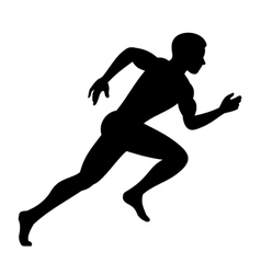 Runner Man Isolated Silhouette on White background vector image vector image
