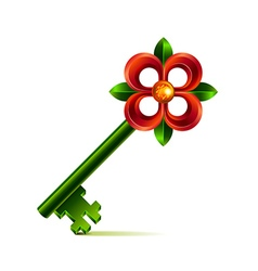 Vintage flower key isolated on white vector image vector image