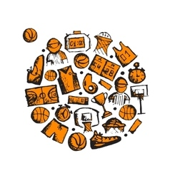 Basketball icons set sketch for your design vector image