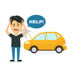 frustrated sad young man near a broken car vector image