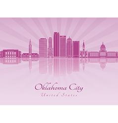 Oklahoma city v2 skyline in purple radiant orchid vector