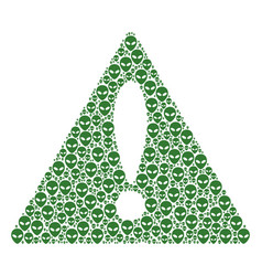 Problem triangle sign mosaic of alien face icons vector