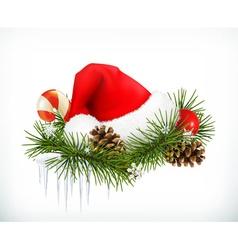 Santa Claus hat Christmas tree and cones vector image vector image