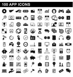 100 app icons set simple style vector