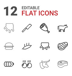 12 beef icons vector