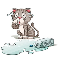 A crying cat vector