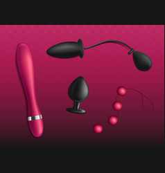 Accessories for sex games realistic set vector