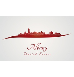 Albany skyline in red vector image