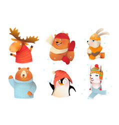 animals winter holidays wearing warm wool hats vector image