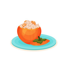 Appetizing stuffed persimmon with rice delicious vector