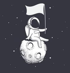 Astronaut holds a flag vector