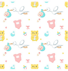 baby shower seamless pattern with newborn vector image