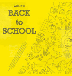 back to school yellow wallpaper vector image