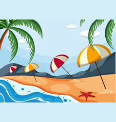 Background scene with umbrellas on beach vector