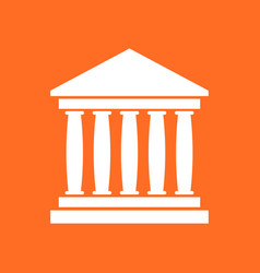bank building icon in flat style museum on orange vector image
