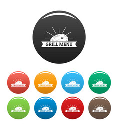 bbq grill menu icons set color vector image