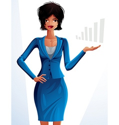 Beautiful mulatto businesswoman full-length vector image