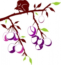 Bird on a plum branch vector