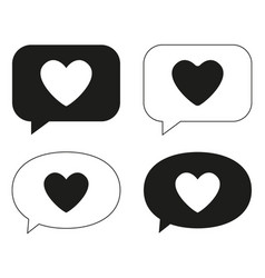 black and white love messages set vector image