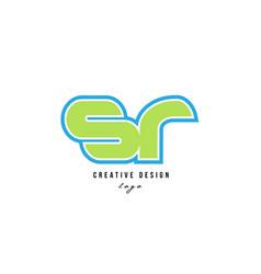 Blue green alphabet letter sr s r logo icon design vector