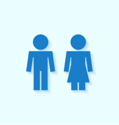Blue man and woman icons for toilet or restroom vector image