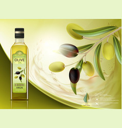 Bottle with oil and olives vector