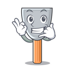 Call me vintage putty knife on mascot vector