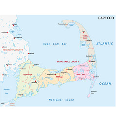 Cape cod administrative and political map usa vector