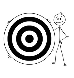 cartoon of man or businessman and big dartboard vector image