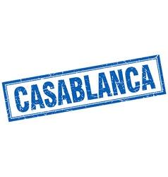 Casablanca blue square grunge stamp on white vector