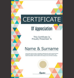 Certificate or diploma geometric design template 7 vector