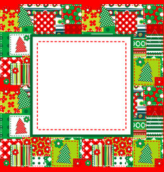 Christmas frame with sewed elements vector