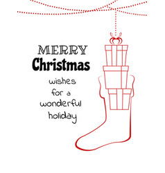 christmas hanging with gift box in the socks vector image