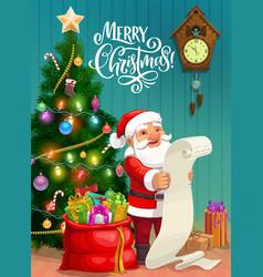 christmas poster santa reading gifts wish list vector image
