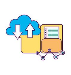 cloud computing folder document download upload vector image