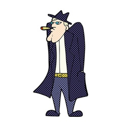 Comic cartoon man in hat and trench coat vector