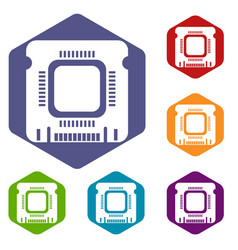 Component microchip icons hexahedron vector