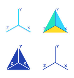 Coordinate axis icon set in flat and line style vector