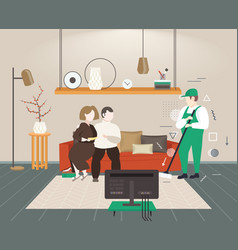 Couple sitting on sofa man cleaner washing floor vector