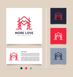 creative line concept home with love heart shape vector image