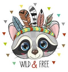 Cute cartoon tribal raccoon with feathers vector