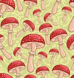 Cute sketch amanita mushrooms background vector