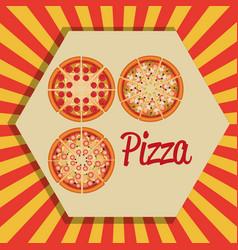 delicious set italian pizza menu vector image