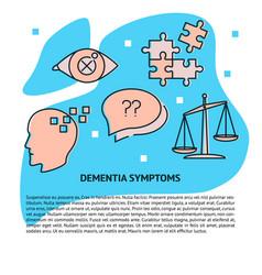 dementia symptoms concept banner template in line vector image
