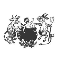 devils boil man in cauldron engraving vector image