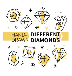 different diamonds - hand drawn outline vector image