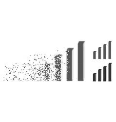 Disintegrating pixel halftone 3d bar chart icon vector