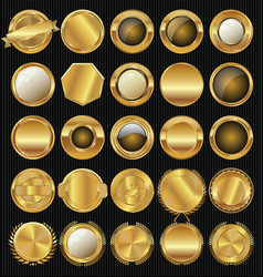 Empty golden badge collection vector