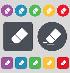 Eraser rubber icon sign A set of 12 colored vector image